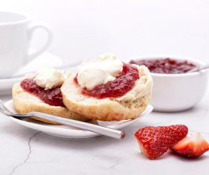 Delicious Summer Meal Ideas cream tea with clotted cream and strawberry jam