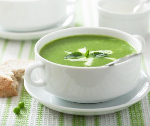 Delicious Summer Meal Ideas pea and mint soup with a swirl of cream